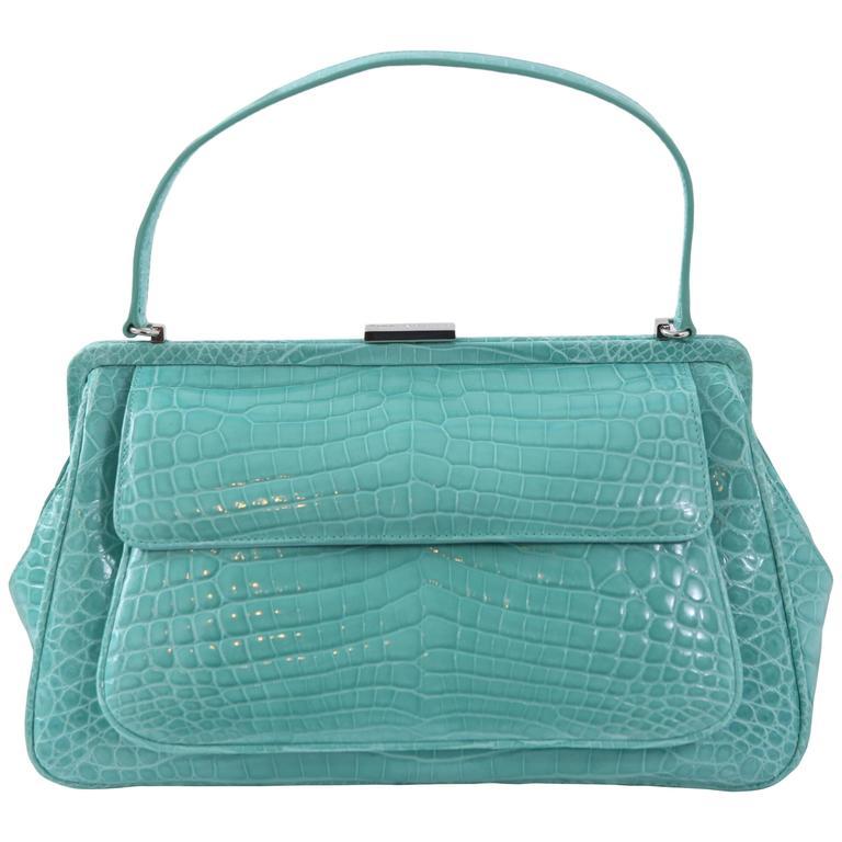 Laurelton Crocodile Handbag In Tiffany