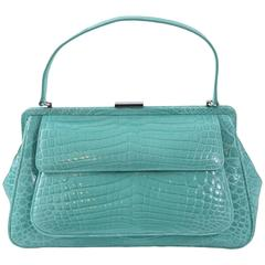 "Tiffany & Co. ""Laurelton"" Crocodile Handbag in Tiffany Blue"