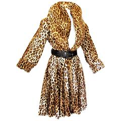 OMO Norma Kamali Fabulous Faux Leopard Coat with Huge Shawl Collar 1980s Sz S