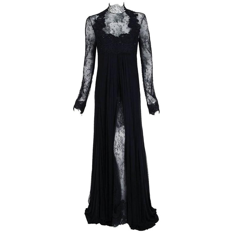 2010 Rafael Cennamo Couture Black Beaded Lace-Illusion Gothic Trained Gown For Sale