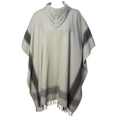 1970s Poncho with Crocheted Collar