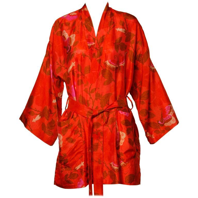 1970s Vintage Hand Woven Thai Silk Kimono Robe with Block Print