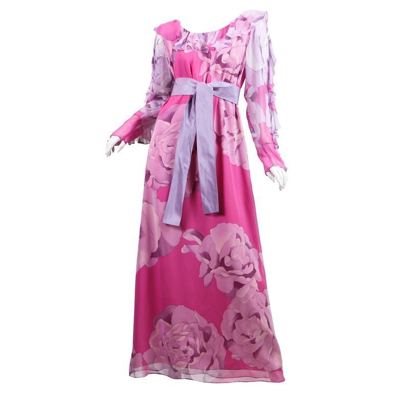 1970s Hanae Mori Romantic Silk Chiffon Dress For Sale