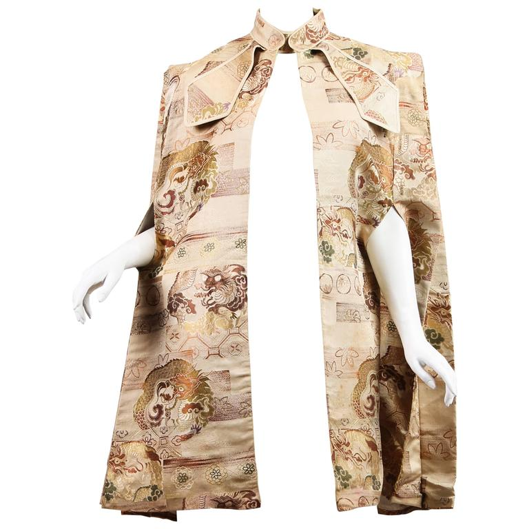 1940s Cape made from Antique Japanese Fabric with Dragons 1