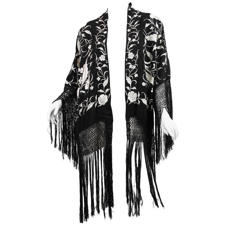 Fringed Kimono made from Antique Piano Shawl For Sale