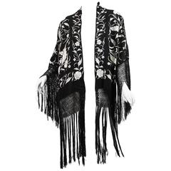 Fringed Kimono made from Antique Piano Shawl