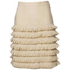Lolita Lempicka Vintage Wool Tiered Fringe Skirt