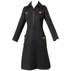 1960s Banff Ltd. by Gianni Ferri Italian Wool Coat Dress with Leather Buckles