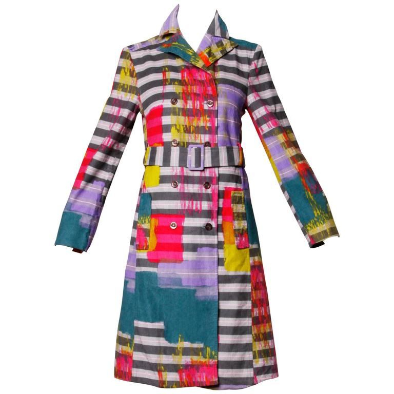 Christian Lacroix Vintage Neon Striped Paint Splash Coat with Belt 1