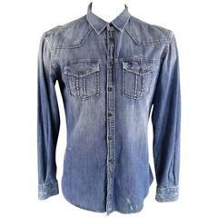 PIERRE BALMAIN Men's Size L Washed Indigo Denim Long Sleeve Shirt