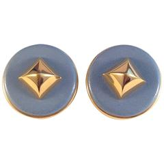 Hermes Blue Medor Leather Stud Clip On Earrings