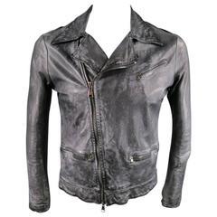 GIORGIO BRATO 36 Black Brushed Leather Biker Jacket