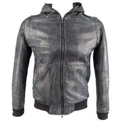GIORGIO BRATO 38 Black Brushed Leather  Hooded Bomber Jacket