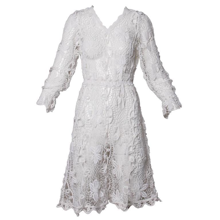 Vintage Hand Crochet Lace Dress