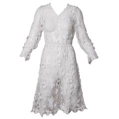 Vintage Hand Crochet Lace Dress