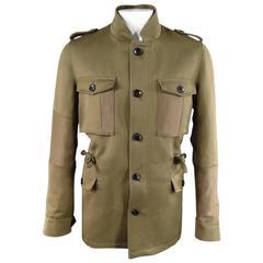 WOOSTER + LARDINI Men's 42 Olive Ramie / Wool Military Drawstring Waist Jacket