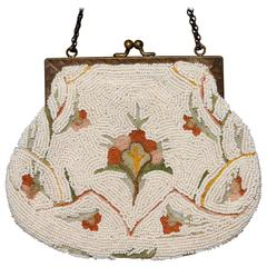 French Hand Made White Beaded Bag with Floral Embroidery