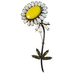 Large Daisy Flower Brooch by Weiss 1960s