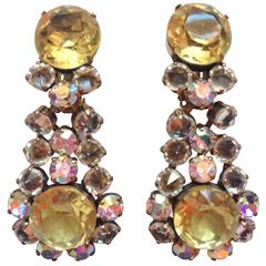 1950s Schreiner Yellow and Clear Crystal Glass Chandelier Earrings