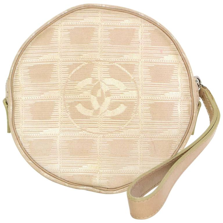 Chanel Ivory Canvas Travel Ligne Circle Pochette SHW 1