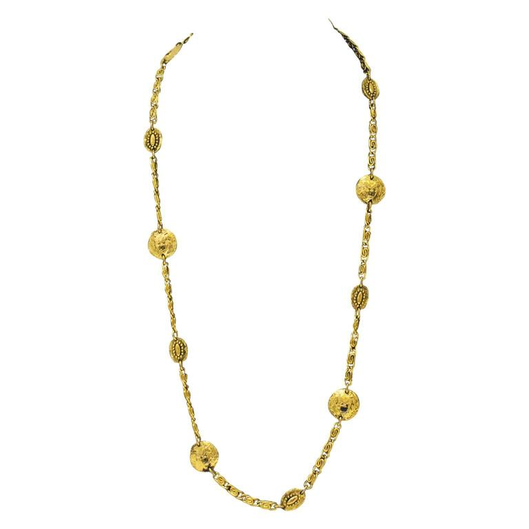 1980s Chanel Coin Necklace with Face Motif 1