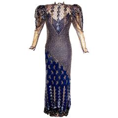 Judy Hornby Couture Long Dress Navy Gigot Sleeve & Gold Lace Embroidery Sz10