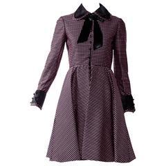 1960s Geoffrey Beene purple and black checkered Peter Pan Collar silk Dress
