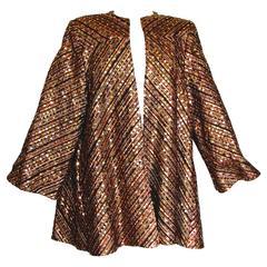 Funky Sequins, Silk + Velvet Evening Jacket Swing Style Snooty Hooty Atlanta L