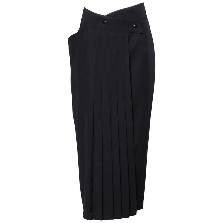 Claude Montana Vintage Navy Blue Wool Avant Garde Asymmetric Pleated Skirt