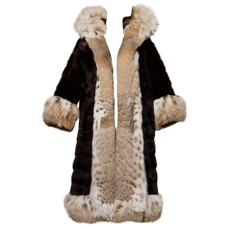 Spectacular Vintage Lynx + Mahogany Mink Fur Coat with Giant Pop Up Collar 1