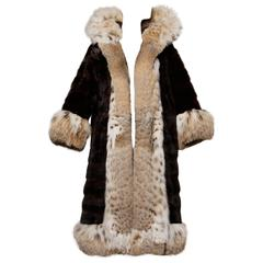 Spectacular Vintage Lynx + Mahogany Mink Fur Coat with Giant Pop Up Collar