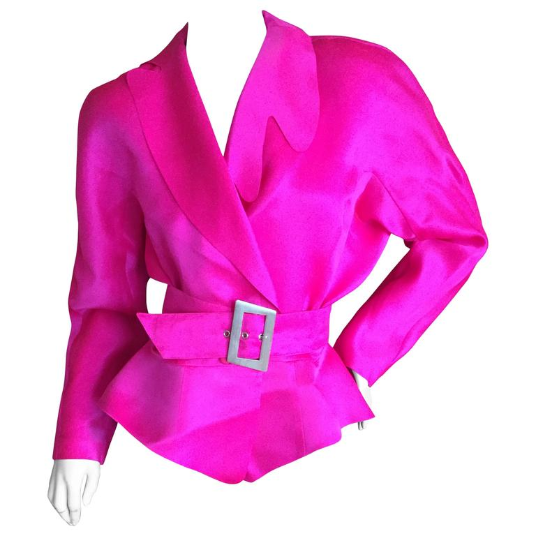 Thierry Mugler Shocking Pink Silk Suit with Belt 1
