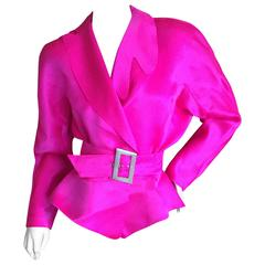 Thierry Mugler Shocking Pink Silk Suit with Belt
