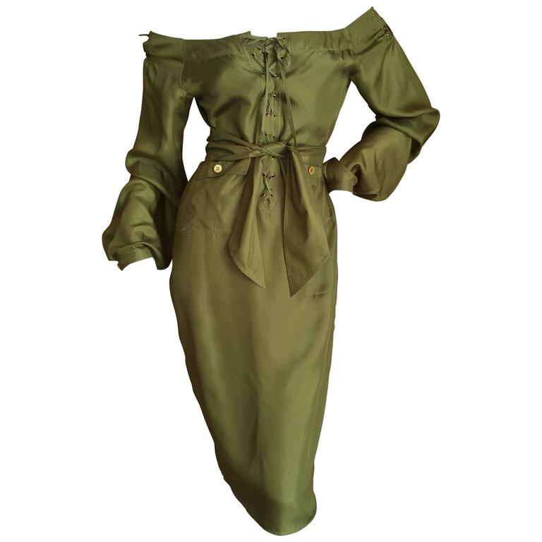 Tom Ford for Yves Saint Laurent Silk Safari Dress For Sale