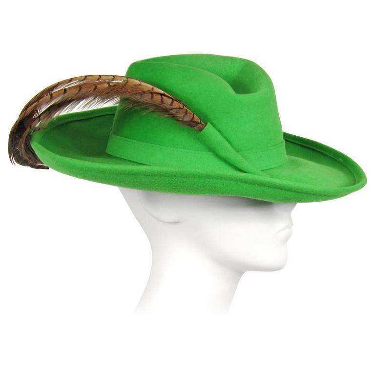 1970s Green Vintage Adolfo Feather Wide Brim Hat  1