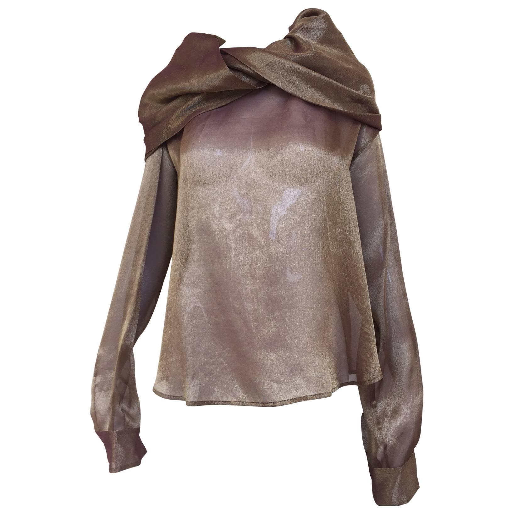 1990s Romeo Gigli bronze irridescent blouse
