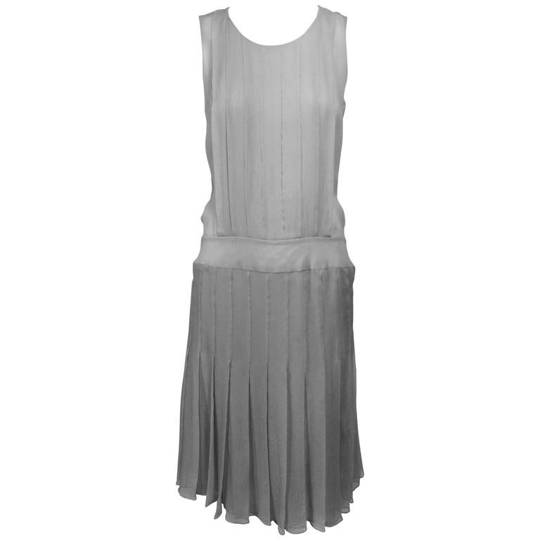 Chanel dove grey silk chiffon pleated afternoon dress 2006