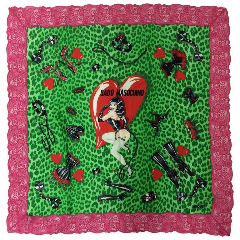 """Moschino Sado Masochino large silk scarf with hot pink lace border 41"""" x 41"""""""