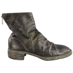 GUIDI Size 10 Black Distressed Leather Zip Boots
