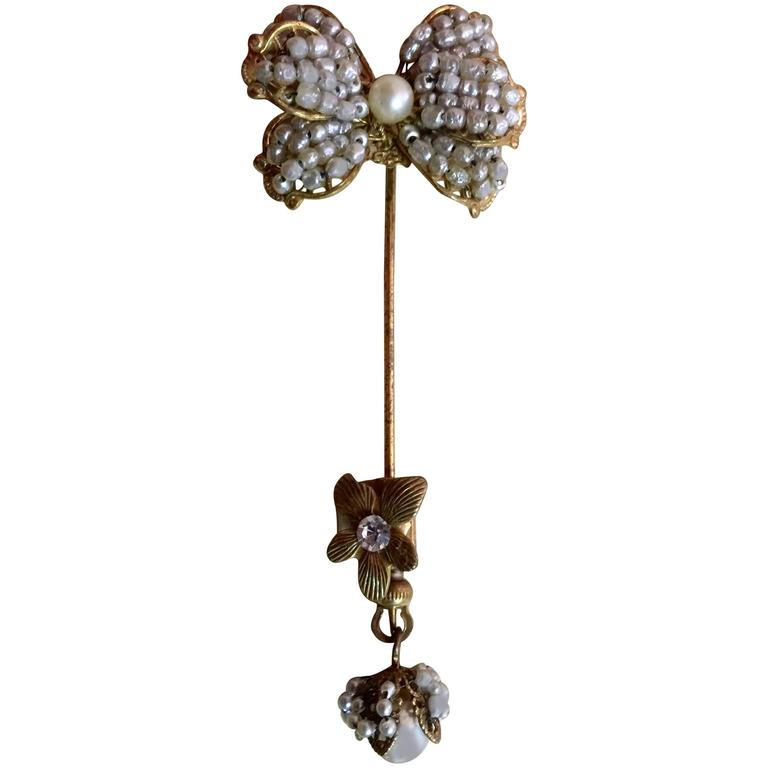 1950's MIRIAM HASKELL Baroque Seed Pearl and Montee Rhinestone Stickpin For Sale