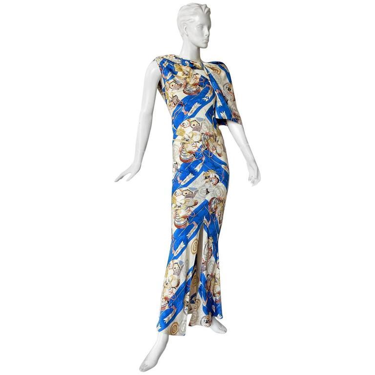 1990's Christian Dior by John Galliano Asymmetric Scarf Dress For Sale