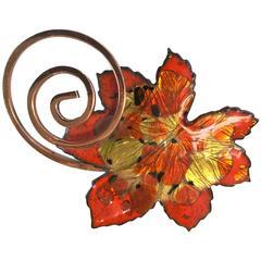1950's MATISSE/RENOIR Copper and Enamelled Maple Leaf Brooch
