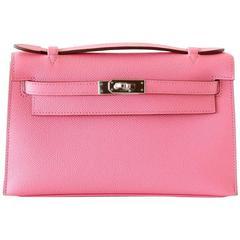 HERMES Kelly Pochette Glorious Pink Rose Confetti Epsom Palladium Hardware
