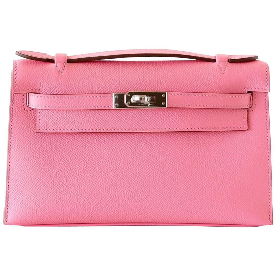 fake birkin bags for sale - HERMES Kelly Pochette glorious pink Rose Confetti epsom palladium ...