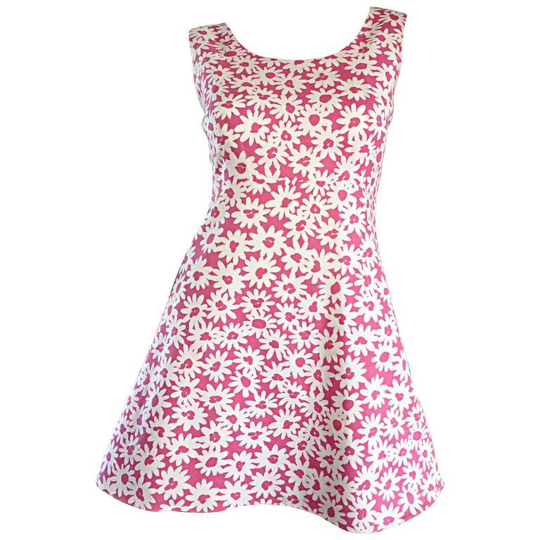 Adorable 1990s Jill Stuart Pink + White Daisy Print A - Line 90s Babydoll Dress  1