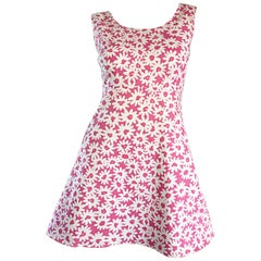 Adorable 1990s Jill Stuart Pink + White Daisy Print A - Line 90s Babydoll Dress