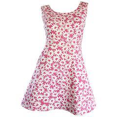 Adorable 1990s Jill Stuart Pink + White Daisy Print A - Line 90s Babydoll Dress
