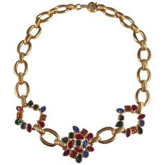 Yves Saint Laurent YSL Vintage Goldtone Necklace with Multi-Colored Stones