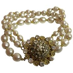 1960's MIRIAM HASKELL Baroque Pearl and Montee Rhinestone 3-strand Bracelet