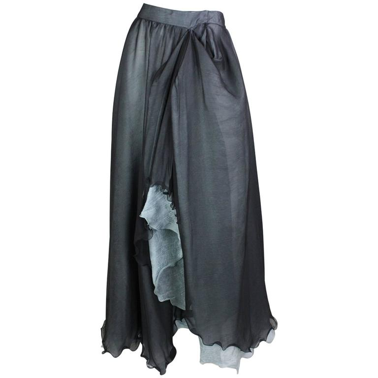 Giorgio Armani Double-Layered Silk Full Skirt For Sale